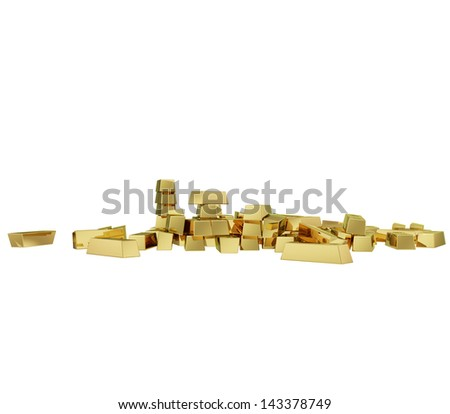 Some realistic golden buillons isolated on white (series) .The rendering has even tiny scratches.