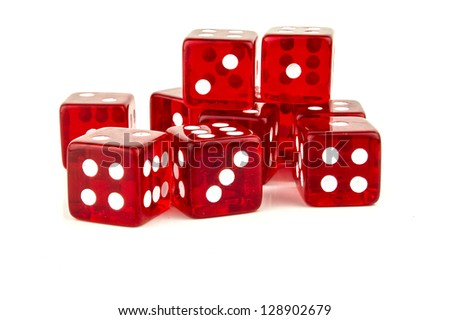 some red dice scattered with different numbers - stock photo