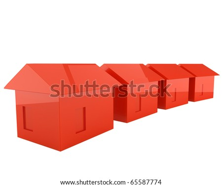 some red houses with nice reflections isolated on white background - stock photo