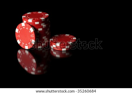 Some red poker chips - stock photo