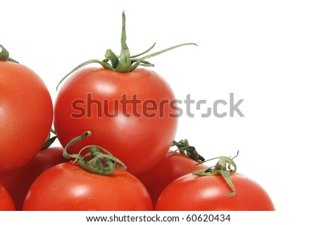some red tomatoes isolated on a white background - stock photo