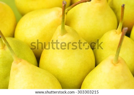 Some ripe yellow pears close up, DOF - stock photo