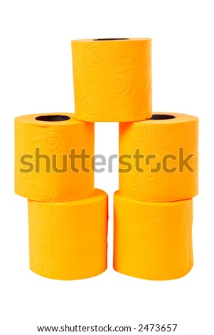 Some rolls of toilet paper on a white background - stock photo