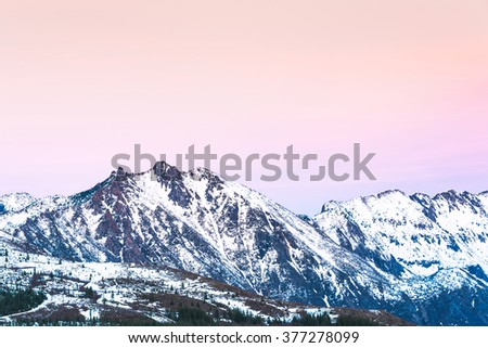 some scenic view of mt st Helens with snow covered  in winter when sunset ,Mount St. Helens National Volcanic Monument,Washington,usa. - stock photo