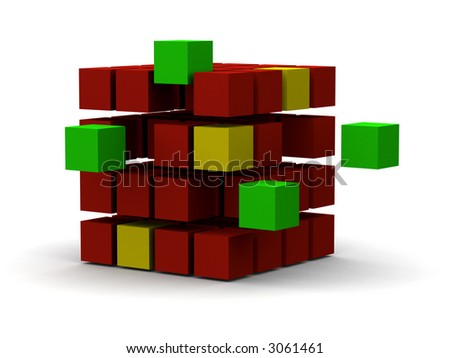 some shapes breaking away from the main group, showing change or influence - stock photo