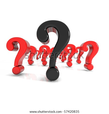 some shiny question mark in red - stock photo