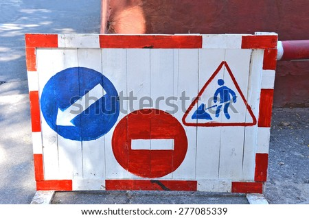 Some sign and boundary on construction road work - stock photo