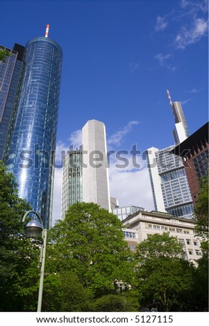 Some Skyscrapers in City Frankfurt, Germany - stock photo