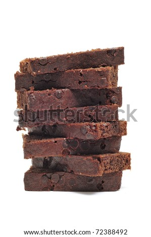 some slices of chocolate cake isolated on a white background