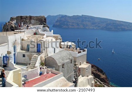 Some small houses on the Santorini Island, Greece