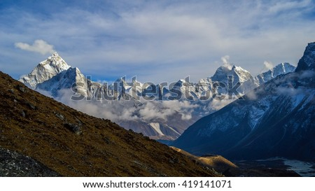 Some snow-capped peaks ot the Himalayan mountains, Nepal - stock photo