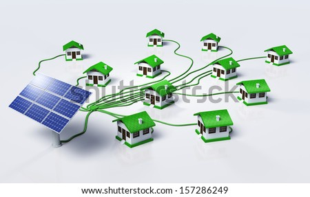 Some solar panels are supplying small homes by connecting them with green cables, on a white background - stock photo