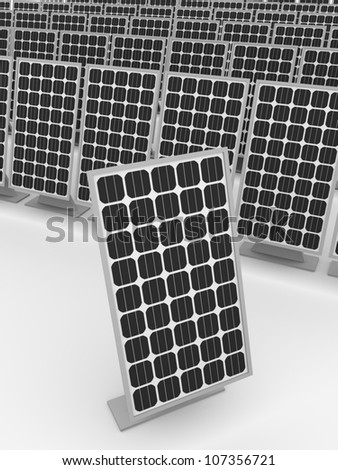 Some solar panels. Ecological and modern electrical supply - stock photo