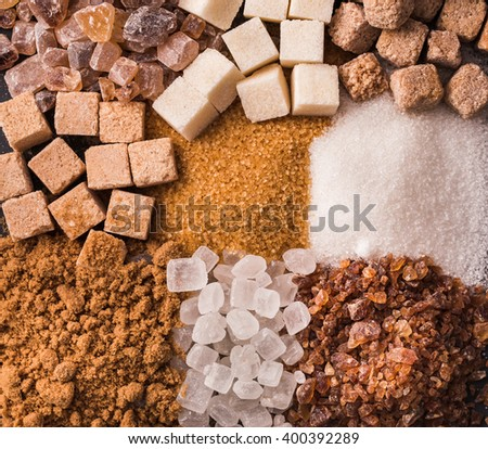 Some sorts of sugar closeup background - stock photo