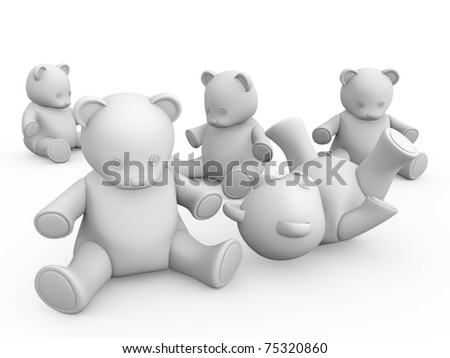Some teddy bears in white. 3d illustration - stock photo