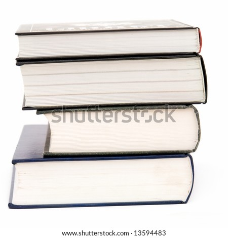 Some thick books on a white background - stock photo