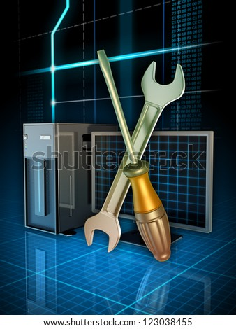 Some tools used to fix computer problems. Digital illustration. - stock photo