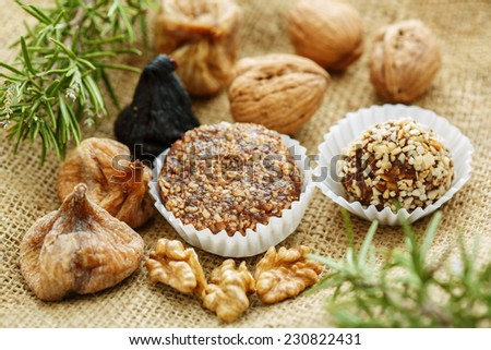 Some traditional christmas portuguese cakes with figs and nuts - stock photo