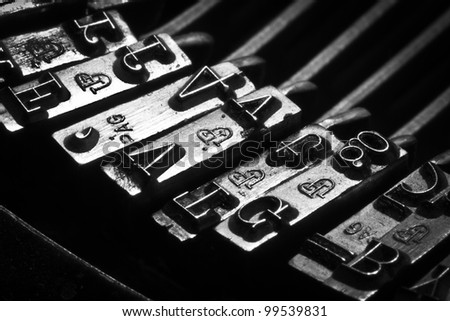 some typos of an old typewriter - stock photo