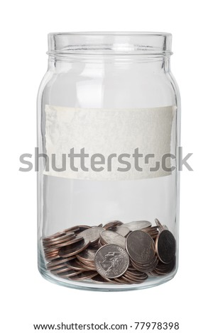 Some US quarter dollars in a jar with label isolated on white background - stock photo