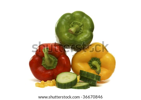 some vegetables, like cucumber , paprika and corn