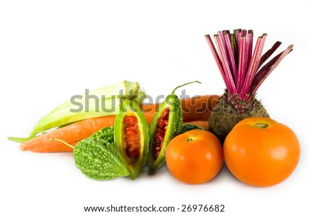 Some vegetables on white background. - stock photo