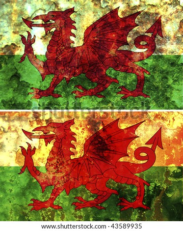 some very old grunge flag of wales - stock photo