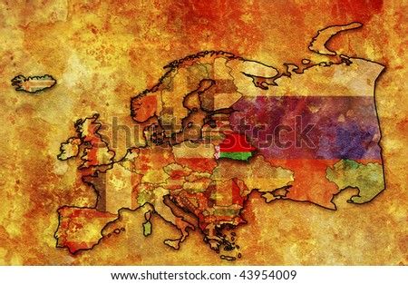 some very old grunge map of belarus with flag on map of europe