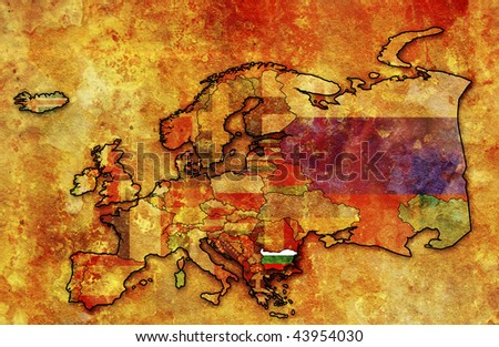 some very old grunge map of bulgaria with flag on map of europe