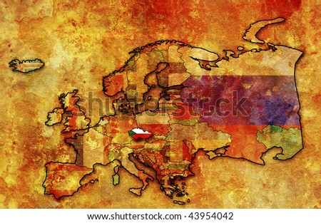 some very old grunge map of czech republic with flag on map of europe