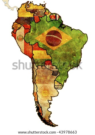 some very old grunge map of south american countries - stock photo