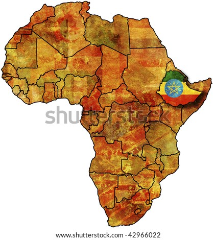 some very old grunge map with flag of ethiopia - stock photo