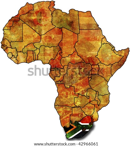 some very old grunge map with flag of rsa - stock photo