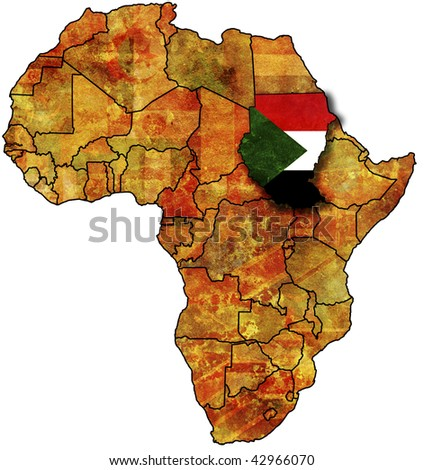 some very old grunge map with flag of sudan