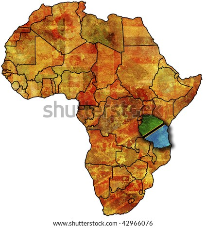 some very old grunge map with flag of tanzania - stock photo