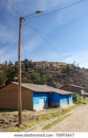 Some village in the middle of the Andes in Peru - stock photo