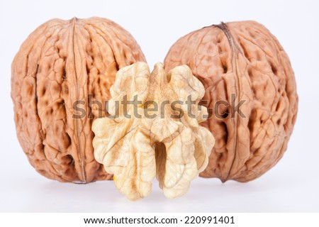 some walnuts isolated on white background