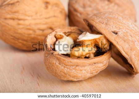 Some walnuts on the table
