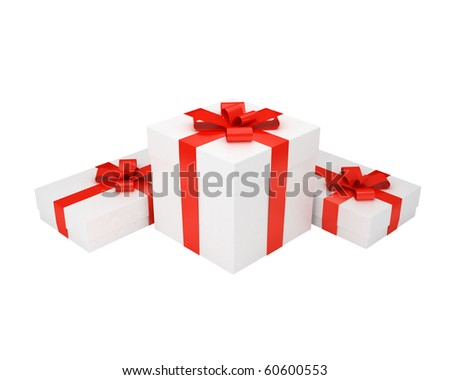 some white gift boxes with red ribbons