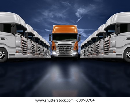 Some white trucks and one red leader truck - stock photo