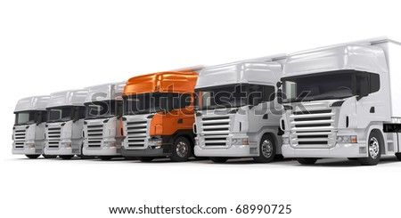 Some white trucks and one red leader truck isolated on white - stock photo