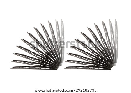 Some windscreen wipers on a white background - stock photo