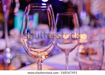 some wineglasses on a party - stock photo