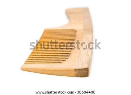 Some wooden hairbrush on a white background.