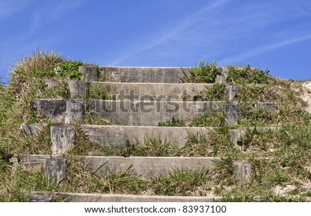 some wooden steps that could lead to heaven ... maybe - stock photo