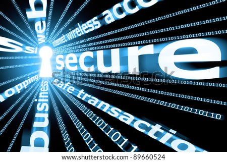Some words and a central lock in a blue predominant illustration for a secure concept. Some words are deliberated blurred. - stock photo