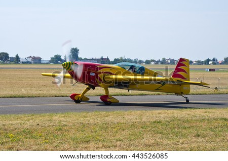 Some yellow plane. Radom, Poland - August 23, 2015: . Airshow event on 23 August 2015, Radom, Poland