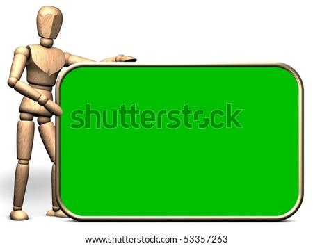 Somebody hold a big green presentation display(green box option) - stock photo