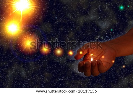 somebody lighting stars in empty cosmos space - stock photo