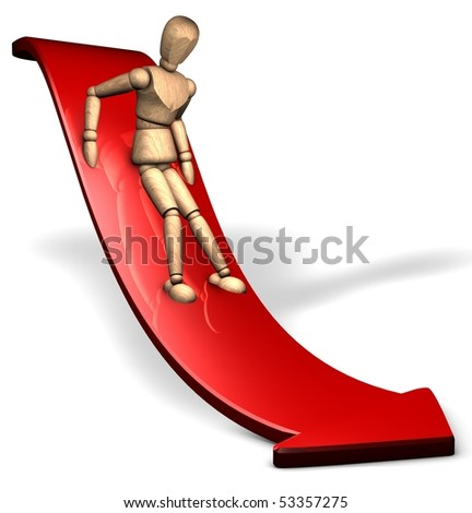 Somebody slides down being afraid on the red slope - stock photo